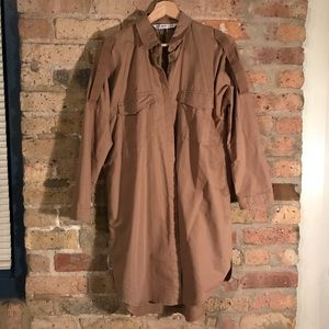 Zara camel button down collared dress